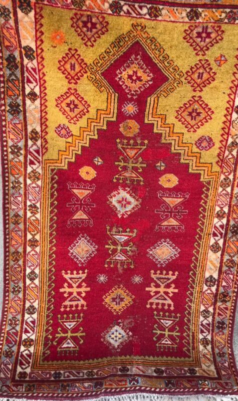AN AWESOME ANTIQUE TURKISH PRAYER RUG