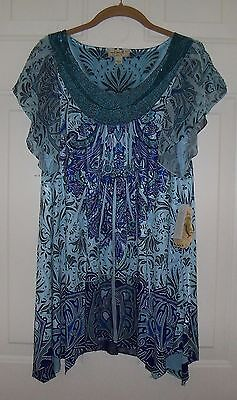 One World  Size L Micro Jersey Flutter Sleeve Beaded Neckline Top   Evine Live