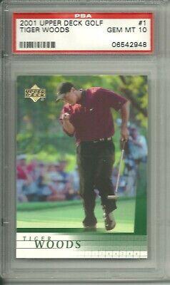 TIGER WOODS 2001 UD UPPER DECK GOLF #1 RC ROOKIE CARD PSA 10 GEM MINT $800+