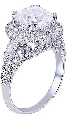 GIA I-VS2 18k White Gold Asscher Cut Diamond Engagement Ring Etoile Deco 2.85ctw 6