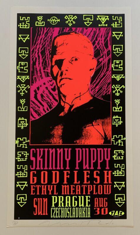 Taz Skinny Puppy Godflesh Ethyl Meatplow Original 1992 Concert Poster Signed