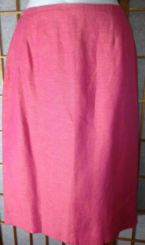NWT $165 LINDA ALLARD Ellen Tracy 100% Linen Pencil Skirt Lined Pink Salmon