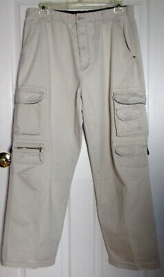 COLISEUM MEN'S ACTIVE OUTDOOR LIFESTYLE CARGO PANTS KHAKI 38/32 10 POCKET