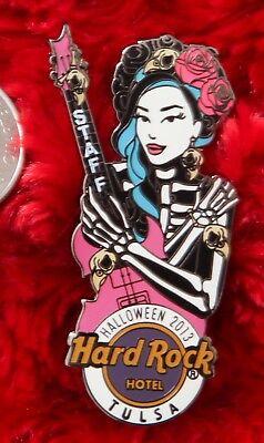Hard Rock Cafe Pin TULSA Halloween STAFF Girl Skeleton Costume Bird SKULL - Halloween Costumes Tulsa