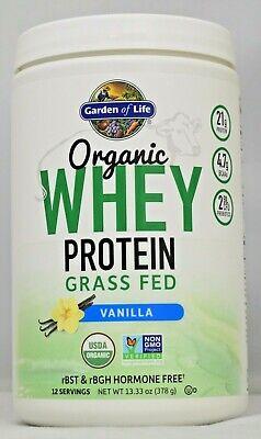 Organic Whey Protein Grass Fed Vanilla Garden Of Life 13.33 oz Organic Whey Protein Powder