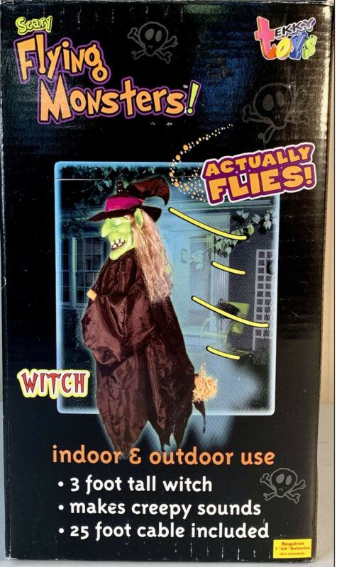 Tekky Toys Halloween 2005 Scary Flying Monsters! LED Witch Animated Prop NEW