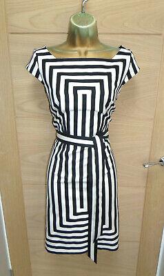 ❤ STUNNING KAREN MILLEN BLACK & WHITE STRIPE COTTON DRESS UK 12 EU 40 A-LINE