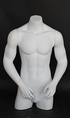 35 In Tall Male Torso Mannequin Torso Arms Free Standing White Colored Mt7-wt