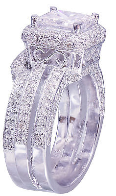 GIA G-VS2 14K white gold princess cut diamond engagement ring and band 2.50ctw 7