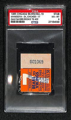 12-19 1965 GALE SAYERS 22 ROOKIE TDS TOUCHDOWN NFL RECORD TICKET PSA/DNA 8 POP 1