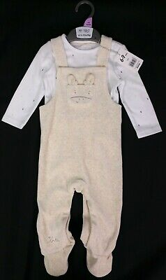 Baby Boys Clothes MOTHERCARE Velour Dungarees & Bodysuit Outfit 6-9 Months