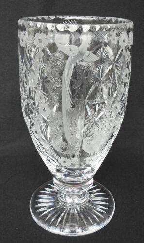 Vintage Large Thomas Webb England Cut Crystal Vase w/ Pagoda Art Numbered w/ Box