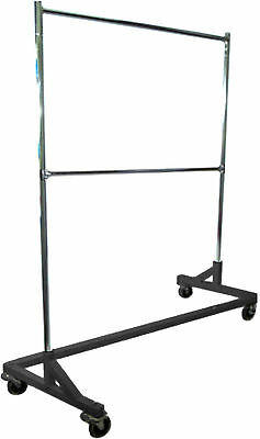 5' Foot Adjustable Height Commercial Double-Rail Rolling Z Rack Chrome & Black
