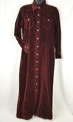 Eddie Bauer Maxi Dress Long sleeve Velour Retro - Red Bauer Kleid