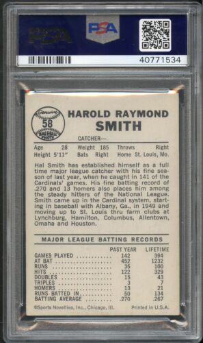 1960 Leaf Baseball Gum Card #58 Hal Smith Team Missing On Back Psa Graded