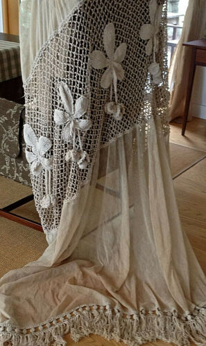 Magnificent Vintage French Crochet Cotton & Tambour Lace Curtain Chestnuts  20