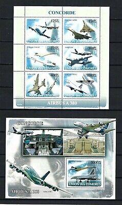 Comoros 2009 Sc#1025-6  Airplanes/Concordes  MNH MS/SS Set $29.00