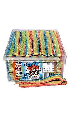 TNT Multicolour Sour Straps 1.4kg Box 200 Straps Candy Buffet Lollies Flavours.