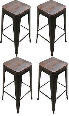 Outdoor Steel Bar Stool (Titan Outdoors Set of 4 Modern Steel Stamped Stacking Bar Stool 30