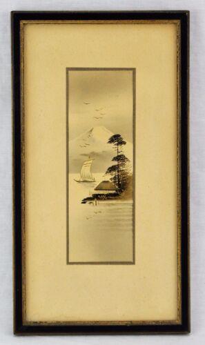 "Japanese antique watercolor with Fujiyama. 6"" x 2 ¼"" . (BI#MK/171026)"