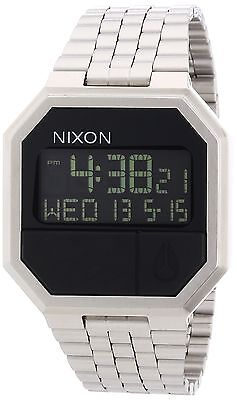 Nixon Re-Run Black Dial Stainless Steel Mens Watch A158000-00