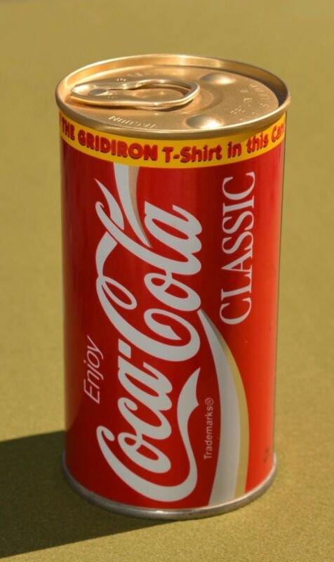 RARE VINTAGE Coca-Cola Monsters Of The Gridiron NFL T-shirt In a Can BRAND NEW