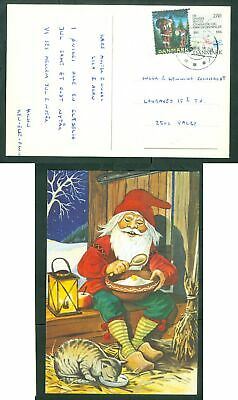 Denmark. Christmas Card 1986. Seal+ 2.80 Kr. Valby. Santa  & Cat Eating Together