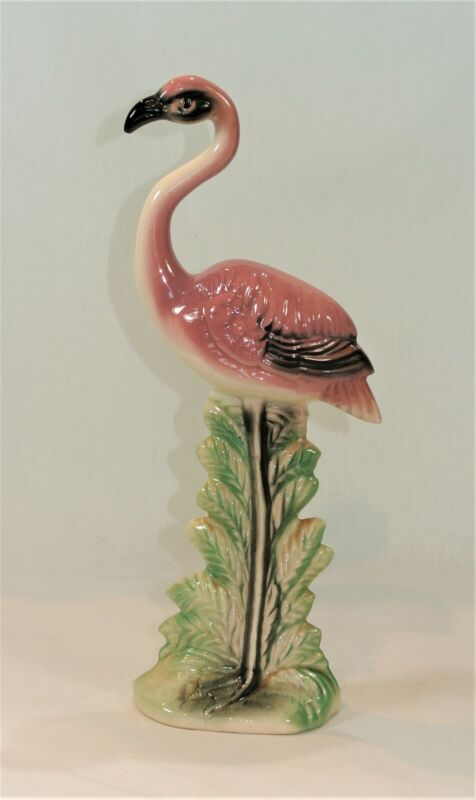 Vintage PINK FLAMINGO Pottery Ceramic Figurine 10 inches