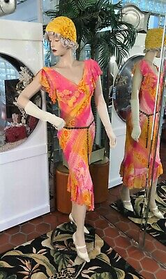 1920s Dress 30's Flapper Modern Millie Gatsby Sunflower Yellow Hat & Paisley SM
