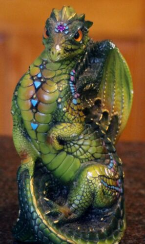 """Pena 88 Windstone Editions Green Youth Dragon 5.75"""" tall x 3"""" x 3"""" on hind legs"""