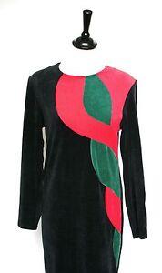 Vintage-dress-Black-velour-stretchy-graphic-pattern-dress-UK-12