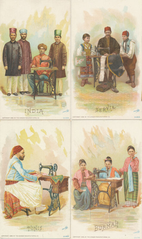 37 Singer Mfg Co Trade Cards - Costumes of All Nations 1893 Columbian Expo+box