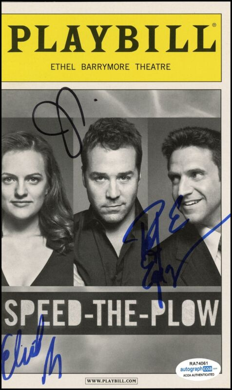 """""""Speed-the-Plow"""" Cast AUTOGRAPHS Signed Playbill - Jeremy Piven +2 ACOA"""