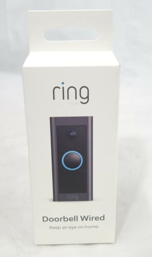 Ring Wired Black Doorbell Camera Wi-Fi Enabled HD 1080P Smart Doorbell - New!!