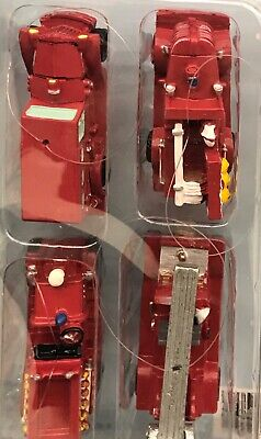 Set of 4 Firetruck Christmas Tree Ornaments ! Fire Engine! Fireman! Ladder Truck