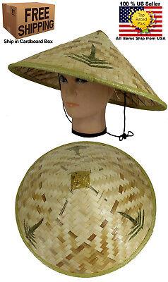 Chinese Oriental Vietnamese Farmer Cone Garden Fishing Bamboo Cap Hat (Straw Hat Oriental)