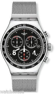 Swatch YVS401GB Black Dial Stainless Steel Chronograph Quartz Men's Watch