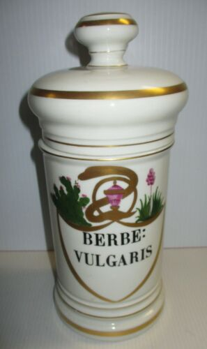 FRENCH LIMOGES BARBERRY BERBE VULGARIS DRUGSTORE PHARMACY APOTHECARY JAR