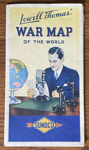 SUNOCO Lowell Thomas WAR MAP OF WORLD 2 Patrol Zone Naval Bases Army Air Corps