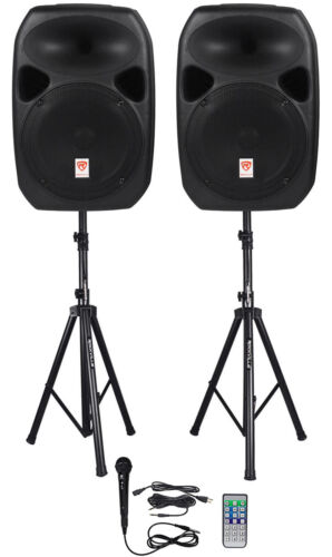 Rockville RPG122K Dual 12 Powered Speakers, Bluetooth Mic Speaker Stands Cables - $229.95