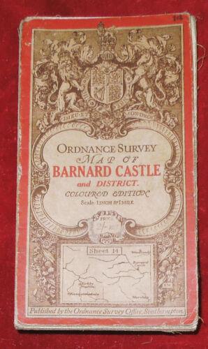 "ORDNANCE SURVEY 1"" CLOTH BACKED COLOURED MAP OF BARNARD CASTLE & DISTRICT 1913"