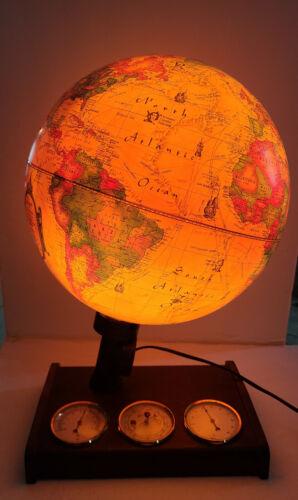 "1980 Lighted 12"" Scan-Globe World Discoverer Weather Station Denmark"