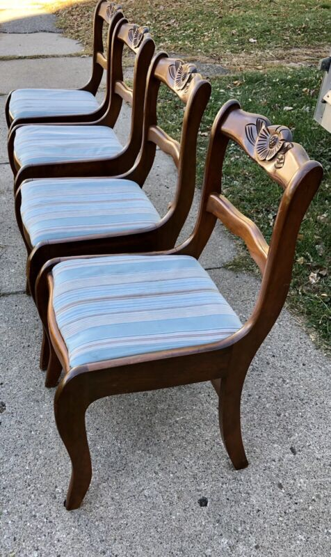 Vintage Antique Duncan Phyfe Rose Back Dining Chairs Four Craddock