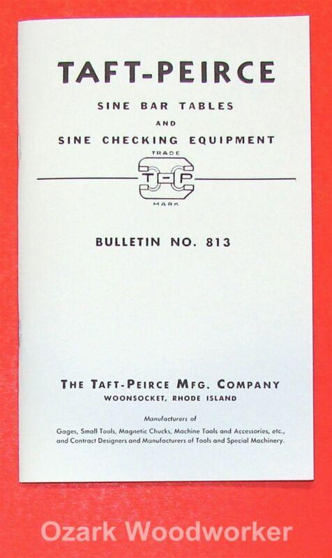 TAFT-PEIRCE Sine Bar Use Instructions and Constant Table Handbook Manual 0950