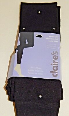 Claires Fleece Lined Footless Black Silver Stud pull up Tights Girl Size S-M NEW - Silver Girls Tights