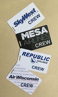 2Pcs Flight Crew Luggage Bag Tags Pilot Skywest Mesa Republic Frontier Allegiant