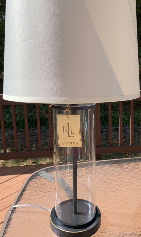 Ralph Lauren Payton Aged Bronze Glass Cylinder Tube Table 💙