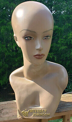 Mannequin Head Partial Bust Female African American Beverly Johnson 18.5