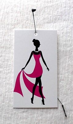 100 Hang Tags Retail Tags Pink Dress Girl Fashion Tags Price Tags Plastic Loops