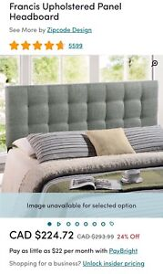 BRAND NEW KING SIZE HEADBOARD IN GREY COLOR